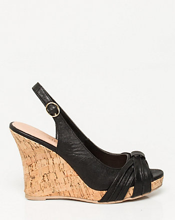 Faux Leather Cork Wedge