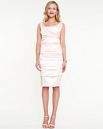 Satin Ruched Cocktail Dress