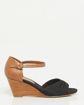 Canvas Peep Toe Wedge
