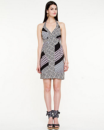 Scarf Print Halter Dress