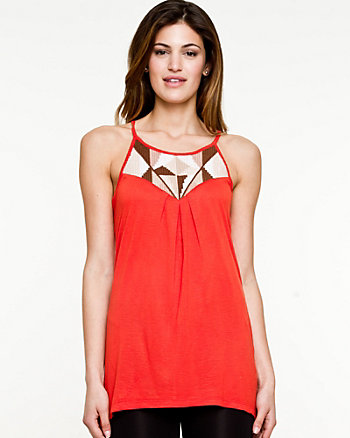 Embroidered Jersey Sleeveless Top