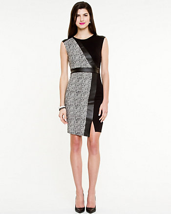 Jacquard & Leather-Like Shift Dress