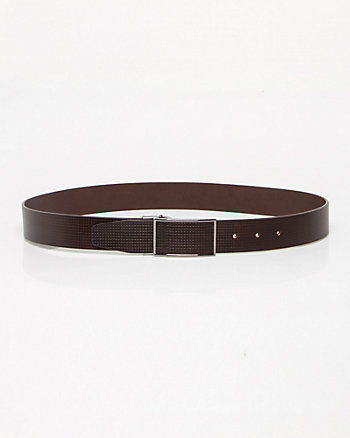 Textured Leather Plaque Buckle Belt