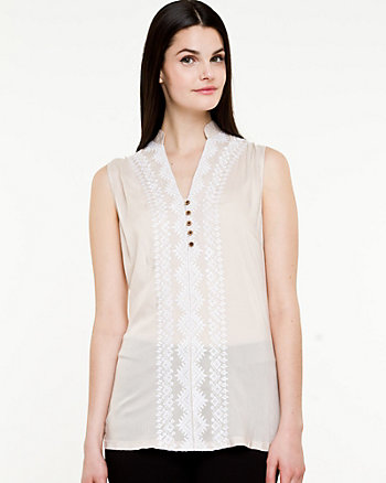 Embroidered Challis Blouse