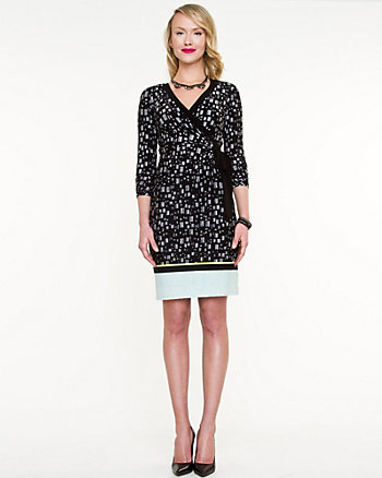 Geo Wrap V-Neck Dress