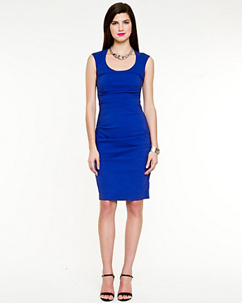 Bengaline Scoop Neck Dress