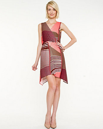 Crêpe Abstract Print Wrap Dress