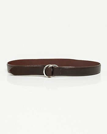 Textured Leather D-ring Belt