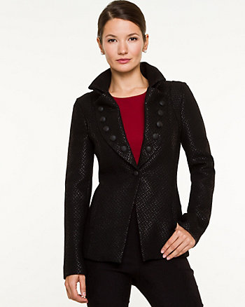 Bouclé Raised Collar Blazer