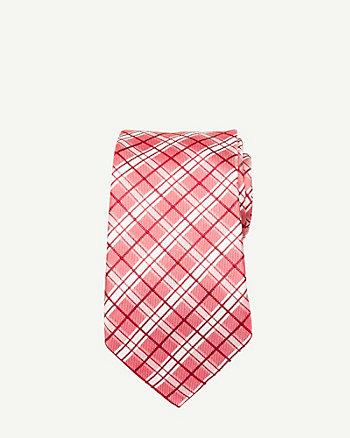 Silk Check Print Tie