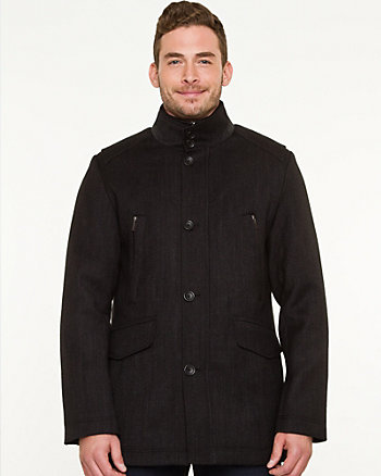 Wool Blend Notch Collar Car Coat
