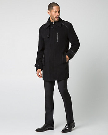 Cashmere Blend Coat with Leather-Like Trim