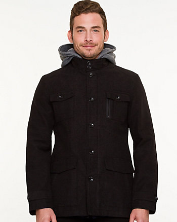 Moleskin Hooded Button-Front Jacket