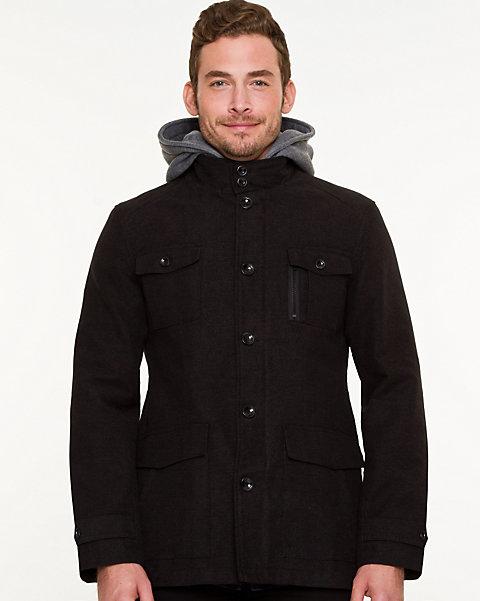 a95b4ce6b Moleskin Hooded Button-Front Jacket