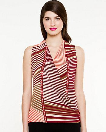 Stripe Knit V-Neck Top