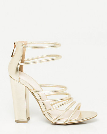Metallic Block-heel Sandal