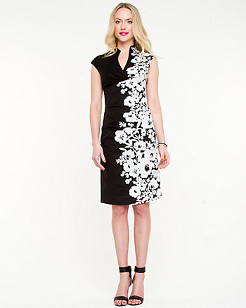 Placement Floral Fitted Dress