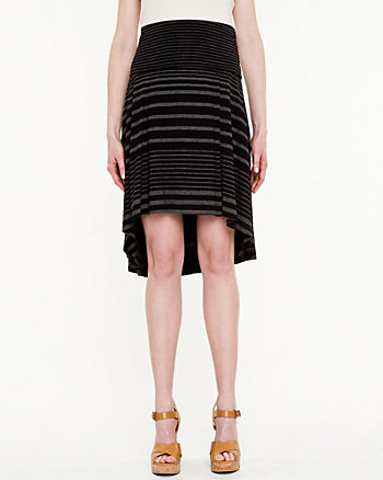 Stripe Jersey High-Low Skirt