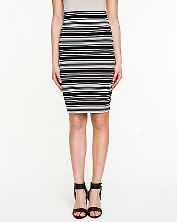 Stripe Ponte High Waist Skirt