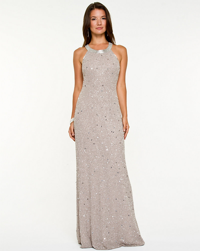 9132487cf21 Beaded Georgette Halter Gown