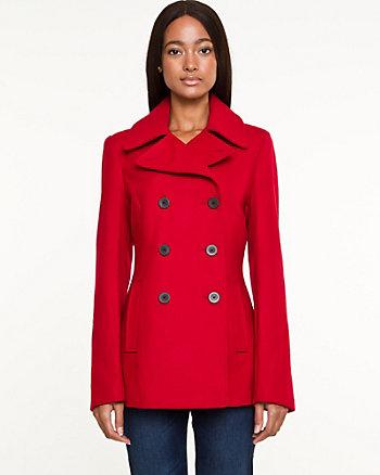 Wool Blend Melton Pea Jacket