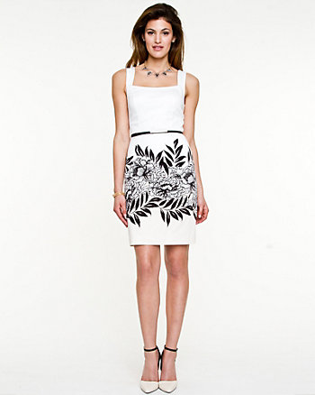 Cotton Printed Square Neckline Dress