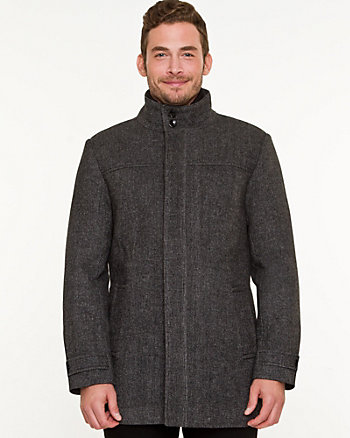 Wool Blend Funnel Neck Crombie Coat