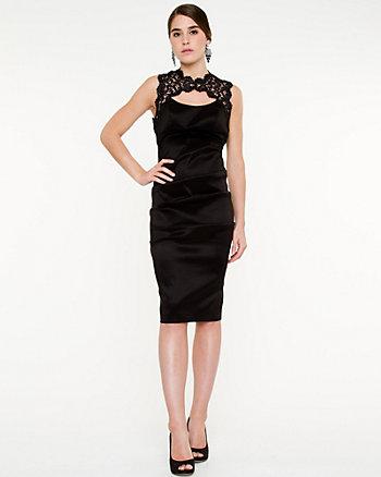 Taffeta Cutout Lace Dress