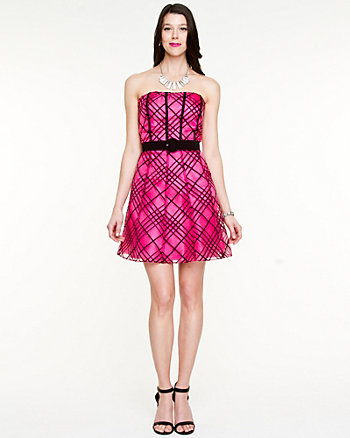 Check Print Organza Party Dress