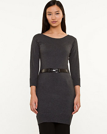 Boat Neck Belted Sweater
