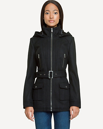 Melton Faux-Sherpa Trim Utility Coat