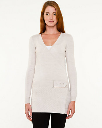 Faux-Wrap Belted Sweater