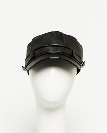 Leather-Like Kepi Cap