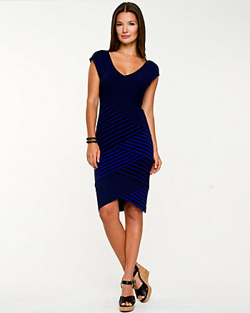 Spliced Stripe Fitted Dress