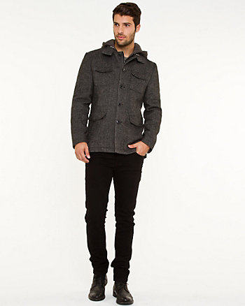 Textured Wool Blend Car Coat