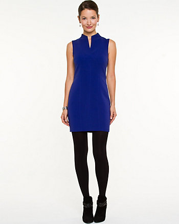 Double Weave Split V-Neck Mini Dress