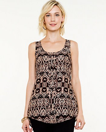 Geo Print Scoop Neck Blouse