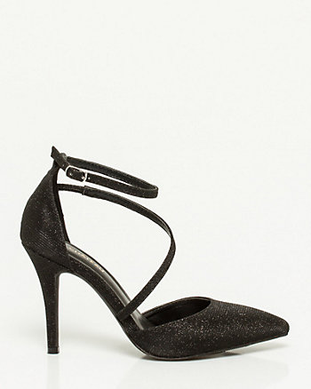 Metallic Asymmetrical Pointy Toe Pump
