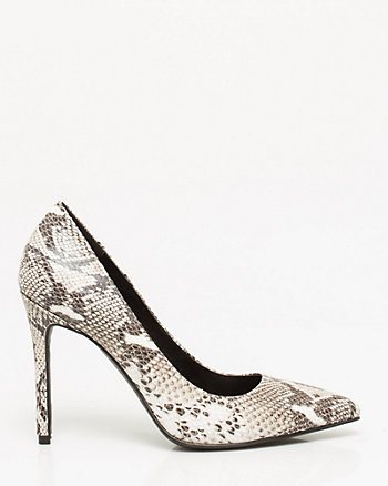 Snake Print Leather Pointy Toe Pump