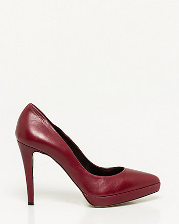 Leather Pointy Toe Platform Pump