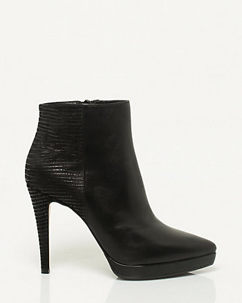 Italian-Made Leather Pointy Toe Platform Boot
