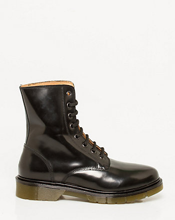 Italian-Made Leather Lace-Up Combat Boot