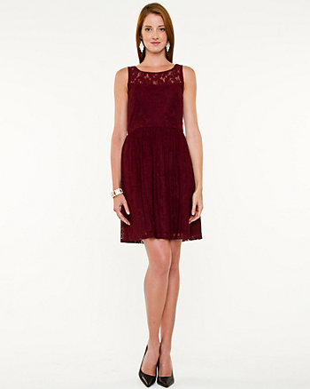 Lace Illusion Fit & Flare Dress