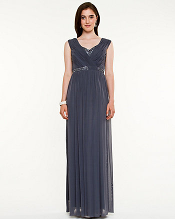 Embellished & Pleated Knit Gown