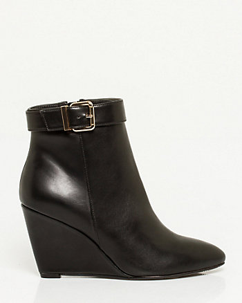Leather-Like Wedge Ankle Boot
