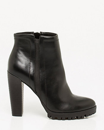 Leather-Like Lug Sole Bootie