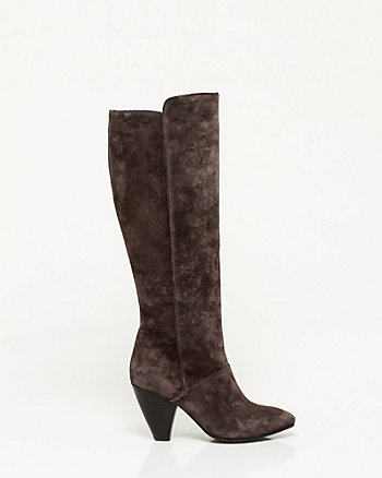 Suede Cone Heel Knee-High Boot