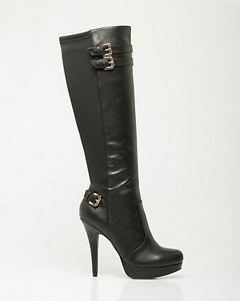 Leather-Like Knee-High Platform Boot