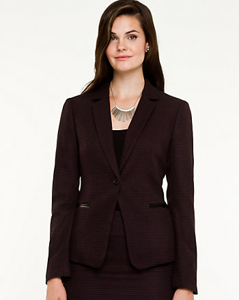 Houndstooth Notch Collar Blazer