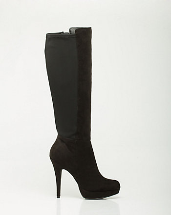 Faux Suede Knee-High Platform Boot